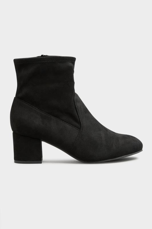 Black Faux Suede Stretch Block Heeled Boots In Extra Wide Fit_B.jpg