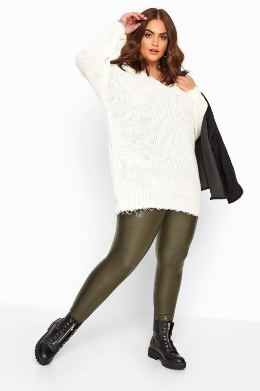 Plus Size Casual / Every Day Khaki Coated Look Leggings