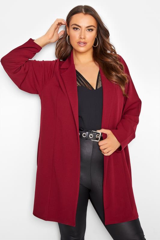 Plus Size  Wine Red Longline Blazer