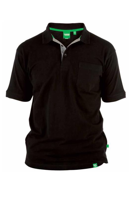 Plus Size  D555 Black Basic Polo Shirt