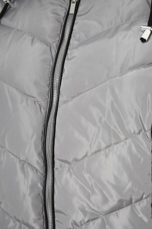 Grey PU Trim Panelled Puffer Jacket_S.jpg