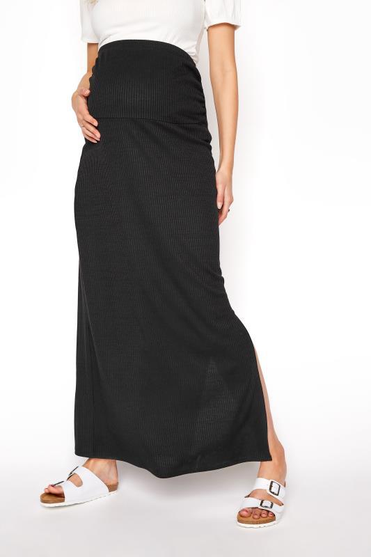 LTS Maternity Black Ribbed Maxi Skirt