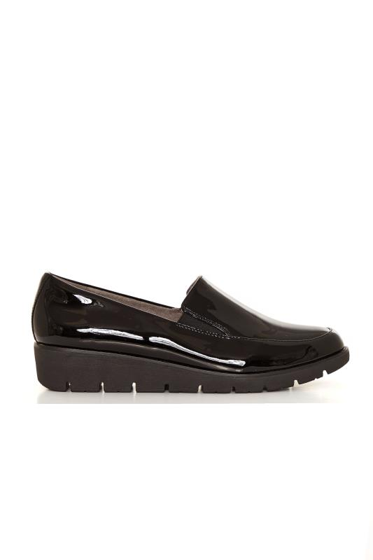 EARTH Black Patent Wedge Loafer