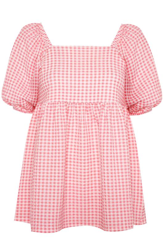LIMITED COLLECTION Coral Pink Gingham Milkmaid Top_F.jpg