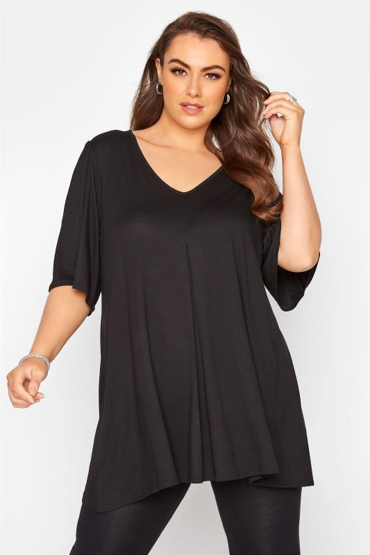 Plus Size  Black Angel Sleeve Swing Top