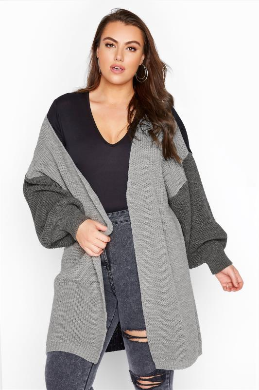 Plus Size  Grey Colour Block Oversized Knitted Cardigan