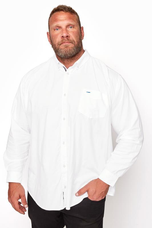 Tallas Grandes BadRhino White Essential Long Sleeve Oxford Shirt