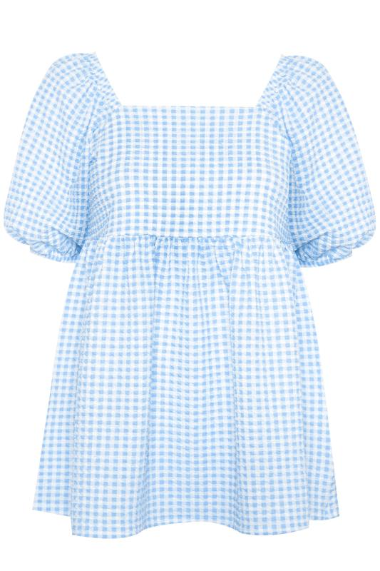 LIMITED COLLECTION Blue Gingham Milkmaid Top_F.jpg