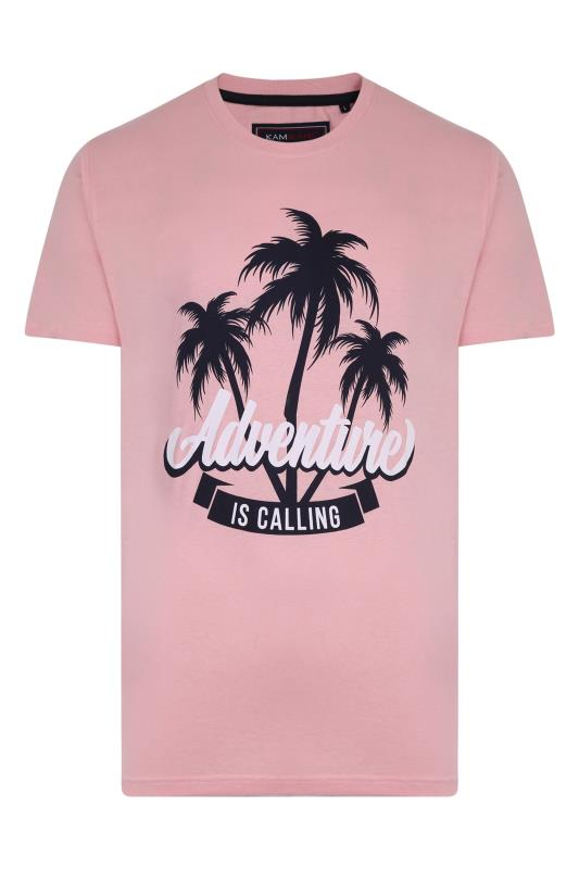 Men's  KAM Pink Palm Adventure T-Shirt