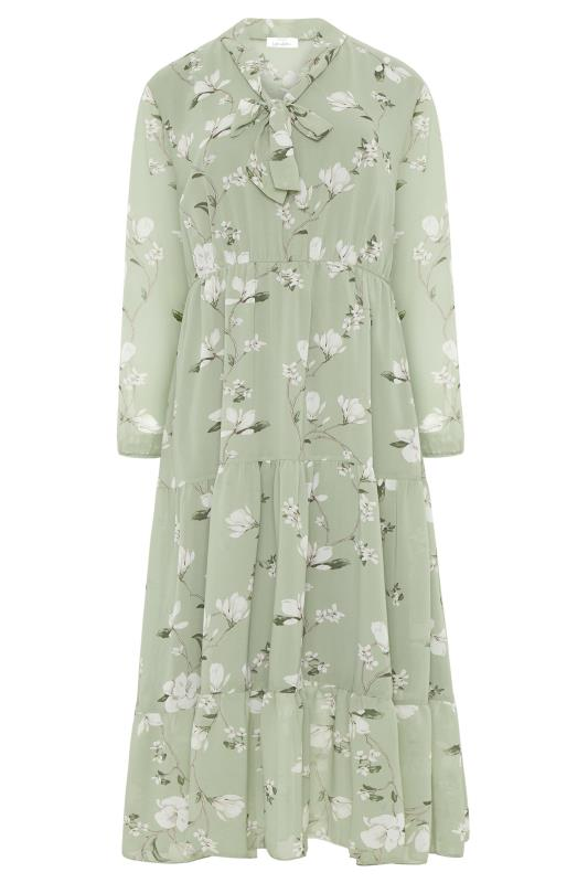 YOURS LONDON Sage Green Floral Bow Smock Dress_F.jpg