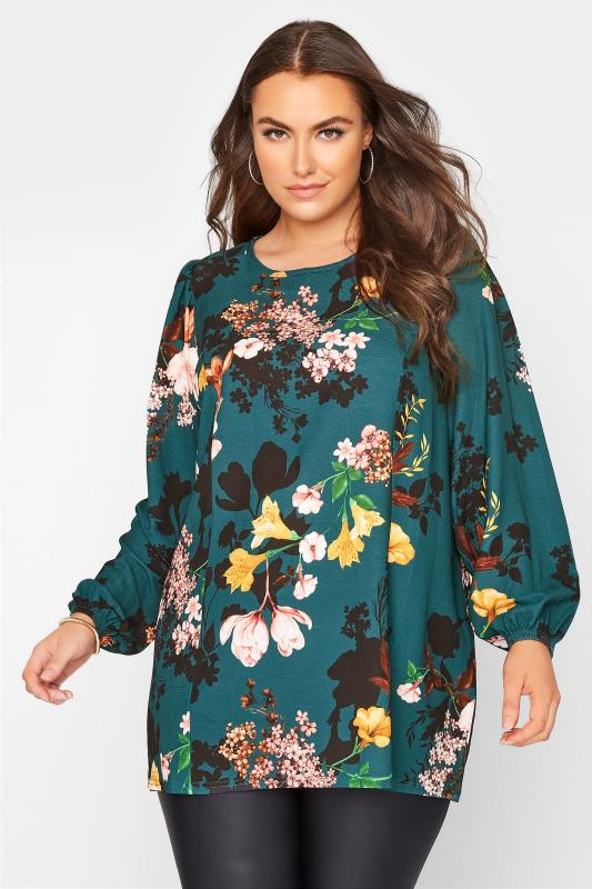 Plus Size  YOURS LONDON Emerald Green Floral Balloon Sleeve Blouse