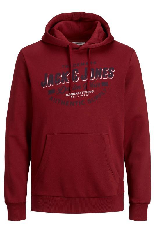 JACK & JONES Burgundy Logo Printed Hoodie_F.jpg