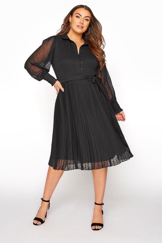 Plus Size  YOURS LONDON Black Dobby Pleat Shirt Midi Dress