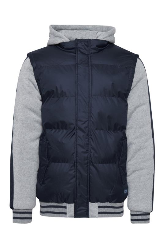 Plus Size  BLEND Navy Padded Jacket With Jersey Sleeves