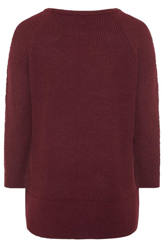 Purple Pointelle Sleeve Knitted Jumper