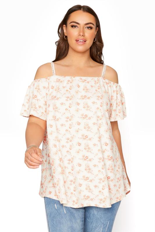 Plus Size  White Floral Cold Shoulder Swing Top