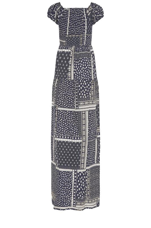 LTS Navy Shirred Bardot Maxi Dress_bk.jpg