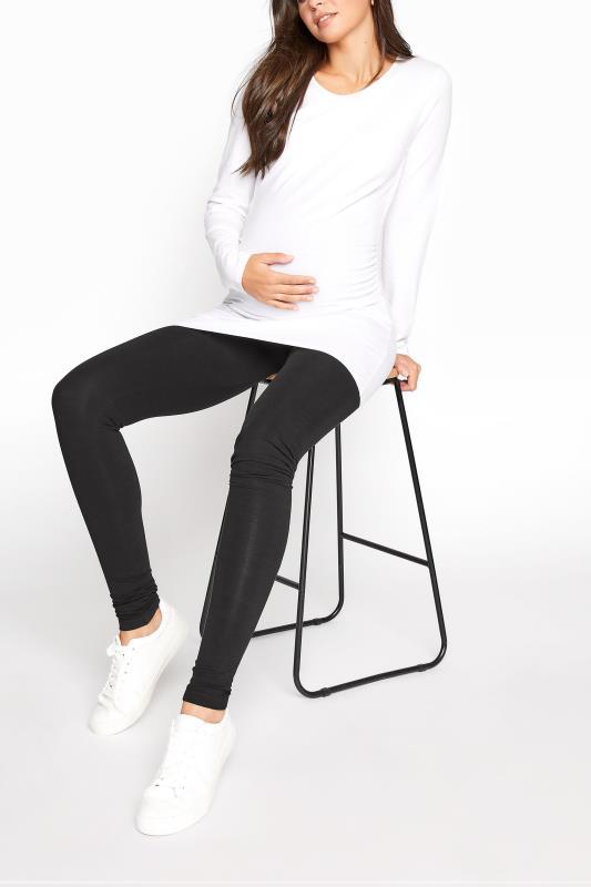 Tall  LTS Maternity Black Cotton Leggings