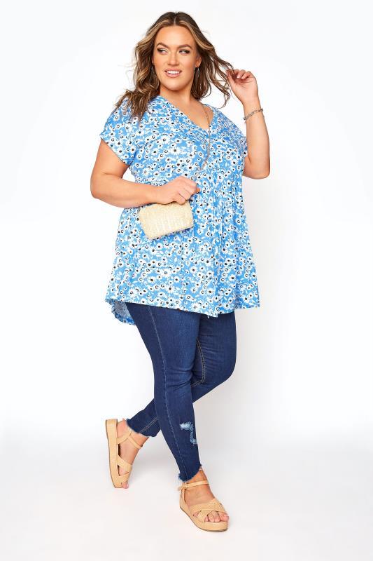 Blue Floral Button Through Peplum T-Shirt