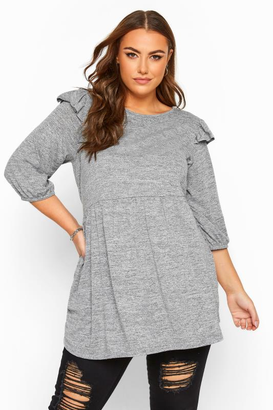 Plus Size Day Tops Grey Marl Frill Knitted Peplum Top