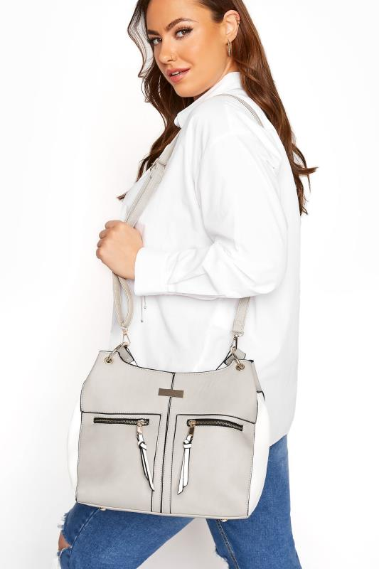 Grey Contrast Shoulder Bag