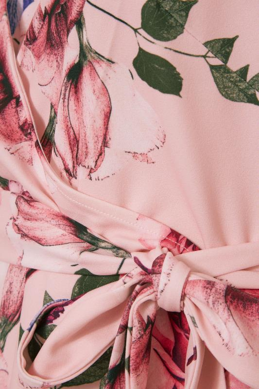 YOURS LONDON Pink Floral Puff Sleeve Wrap Top_S.jpg