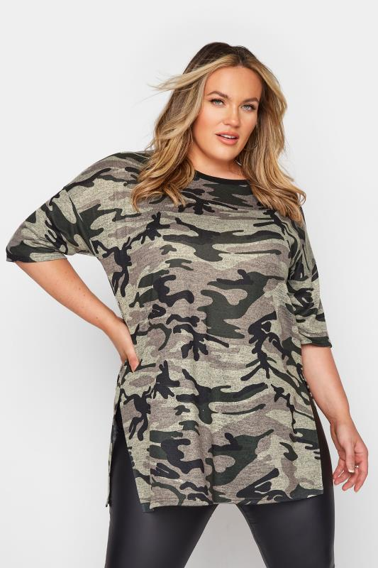 Plus Size  Khaki Camo Oversized T-Shirt