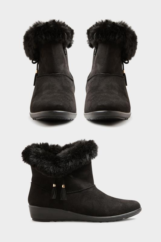 Black Bow Trim Wedge Boots in Extra Wide Fit_A.jpg
