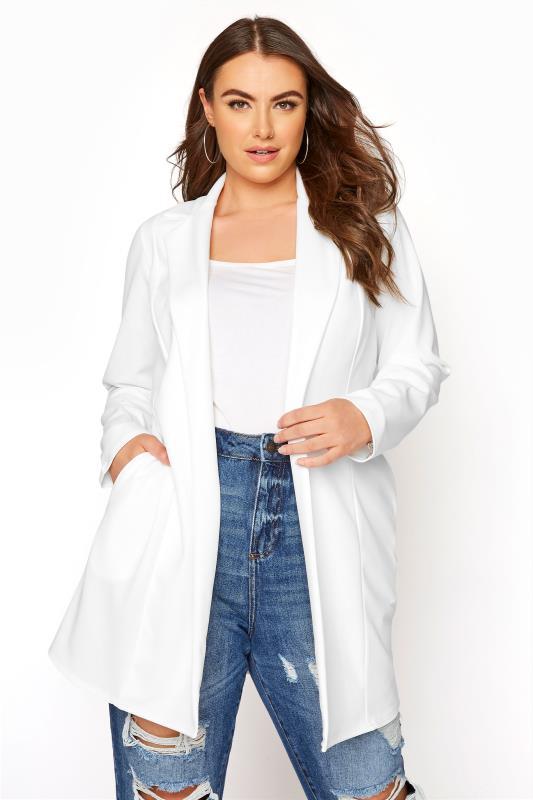 Plus Size  White Longline Blazer