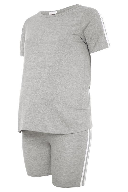 BUMP IT UP MATERNITY Grey Stripe T-shirt & Shorts Set_f.jpg