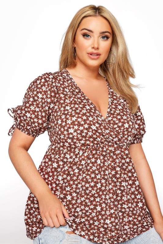 LIMITED COLLECTION Rust Floral Wrap Front Top_D.jpg