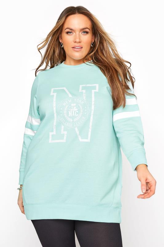 Plus Size  Mint Blue Varsity Stripe New York Sweatshirt