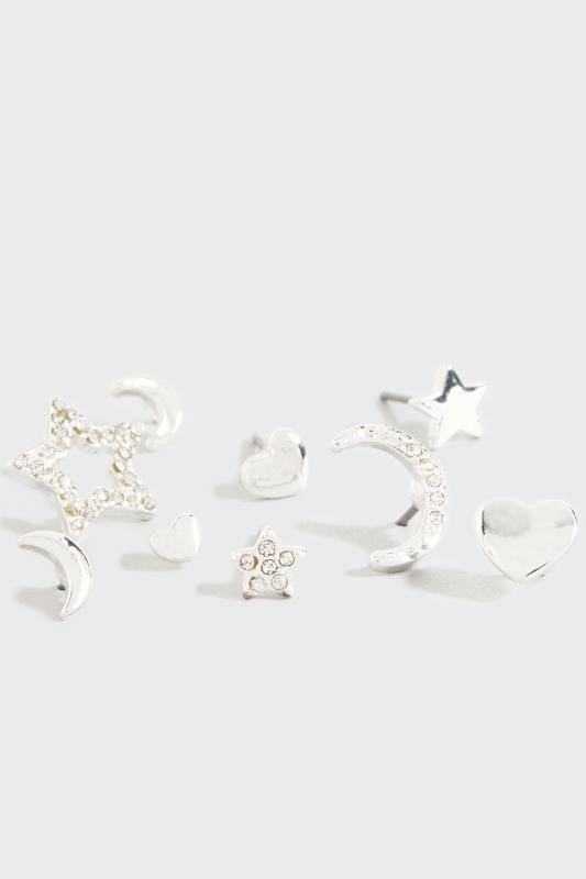 9 PACK Silver Mix Stud Earrings