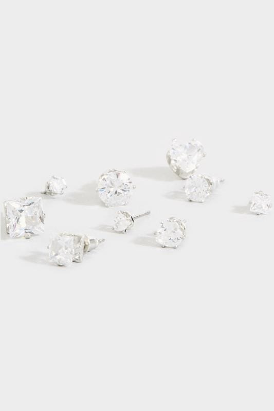9 PACK Mixed Diamante Stud Earrings