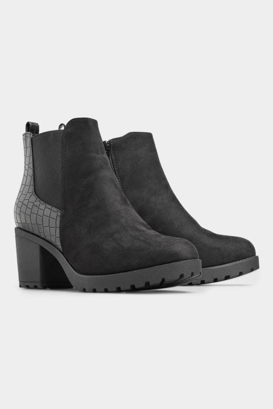 Black Faux Suede Croc Effect Heeled Chelsea Boots In Extra Wide Fit