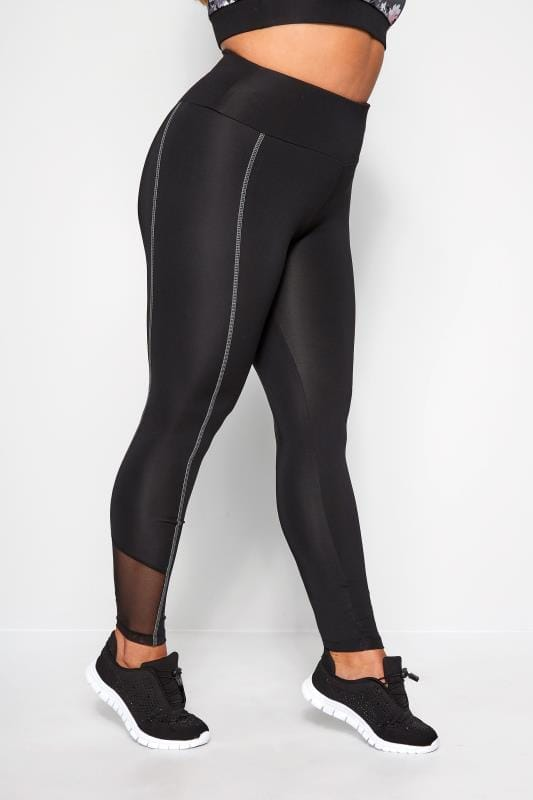 Plus Size Active Leggings ACTIVE Black Mesh Panel Leggings