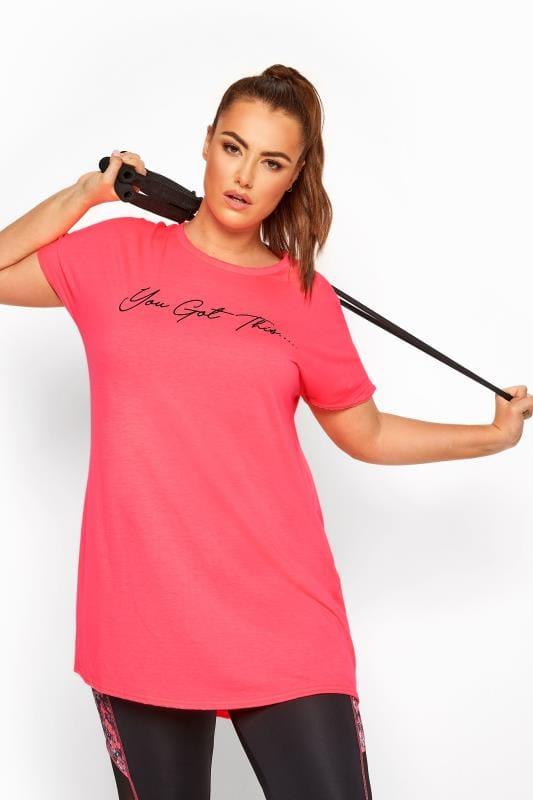 Active Tops ACTIVE Neon Pink Lattice Back Slogan T-Shirt