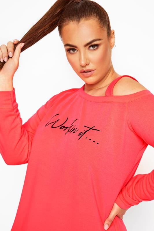 ACTIVE Neon Pink Slogan Cold Shoulder Sweatshirt