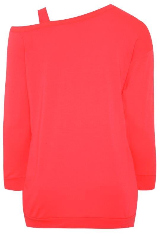 ACTIVE Neon Pink Slogan Cold Shoulder Sweatshirt