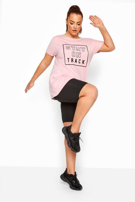 ACTIVE Pink Cross Back Slogan T-Shirt
