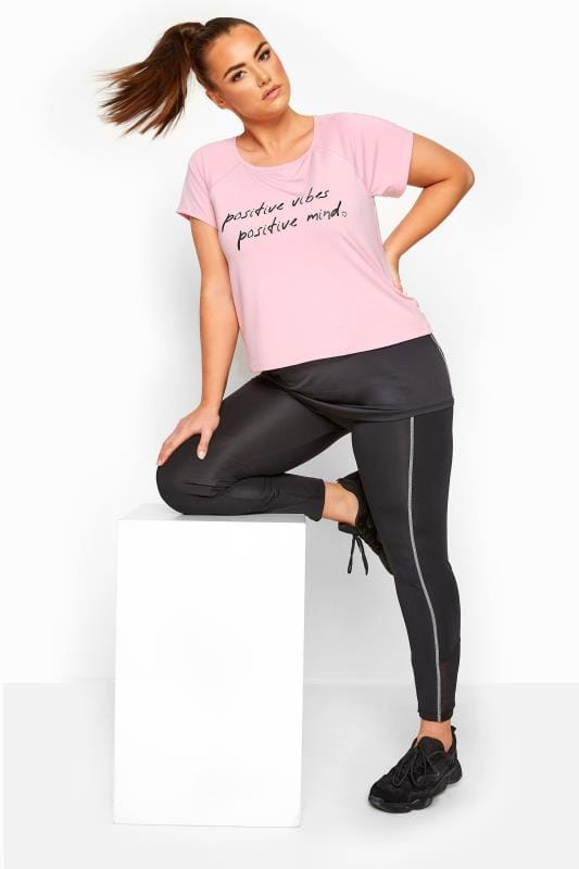 ACTIVE - Top met 'Positive Vibes' slogan in roze