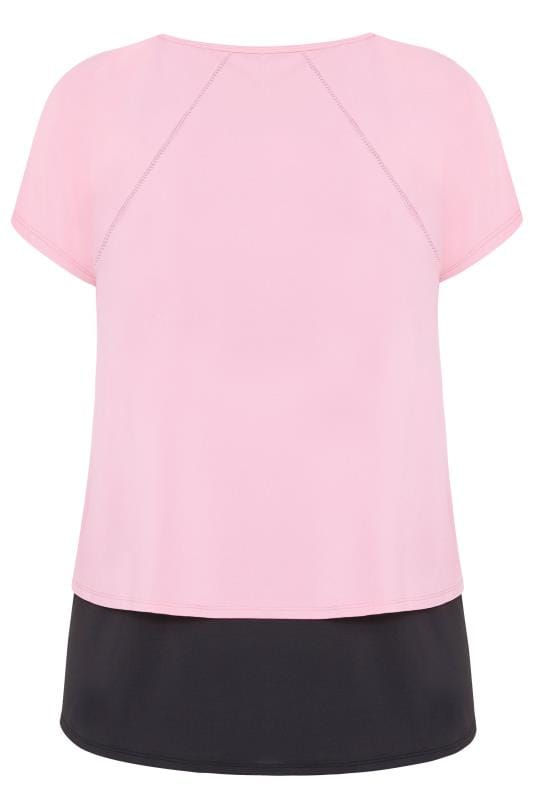 ACTIVE Pink Double Layer Slogan Top