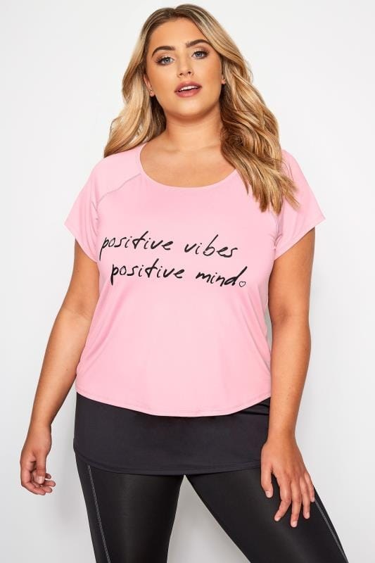 Plus Size Active Tops ACTIVE Pink Double Layer Slogan Top