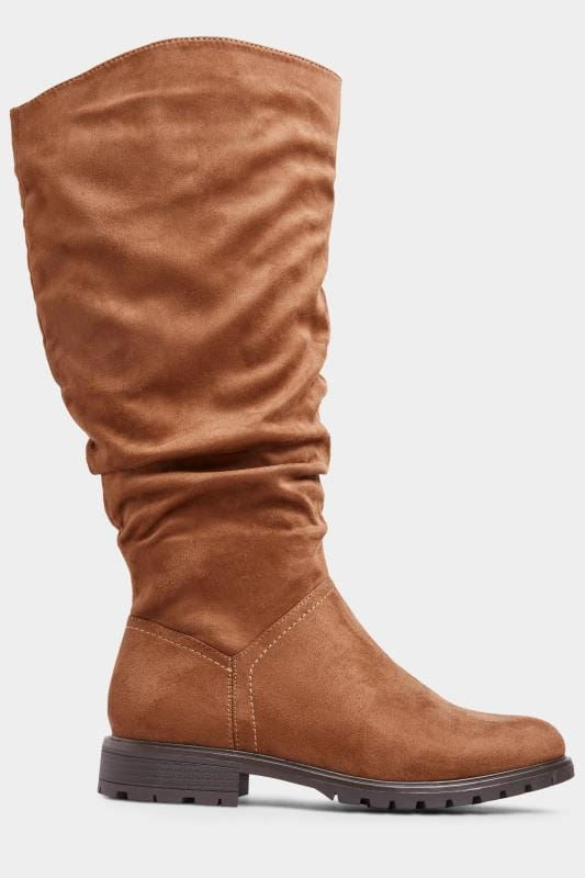 Tan Suedette Ruched Knee High Boots In Extra Wide Fit