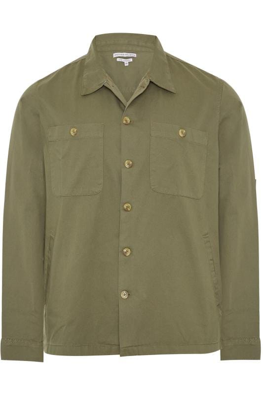 Plus Size Jackets ANOTHER INFLUENCE Khaki Twill Utility Overshirt