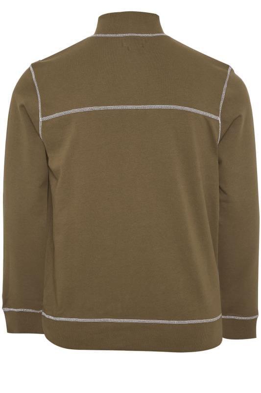 ANOTHER INFLUENCE Khaki Half Zip Utility Sweatshirt