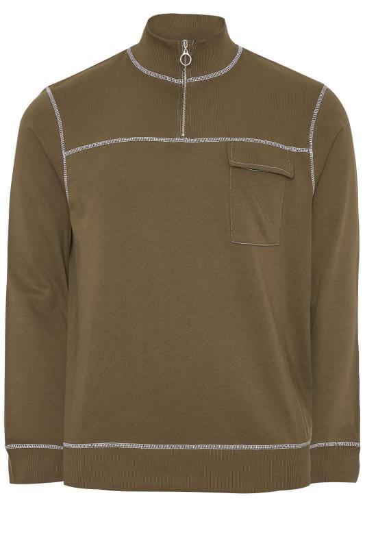 Sweatshirts ANOTHER INFLUENCE Khaki Half Zip Utility Sweatshirt 202335