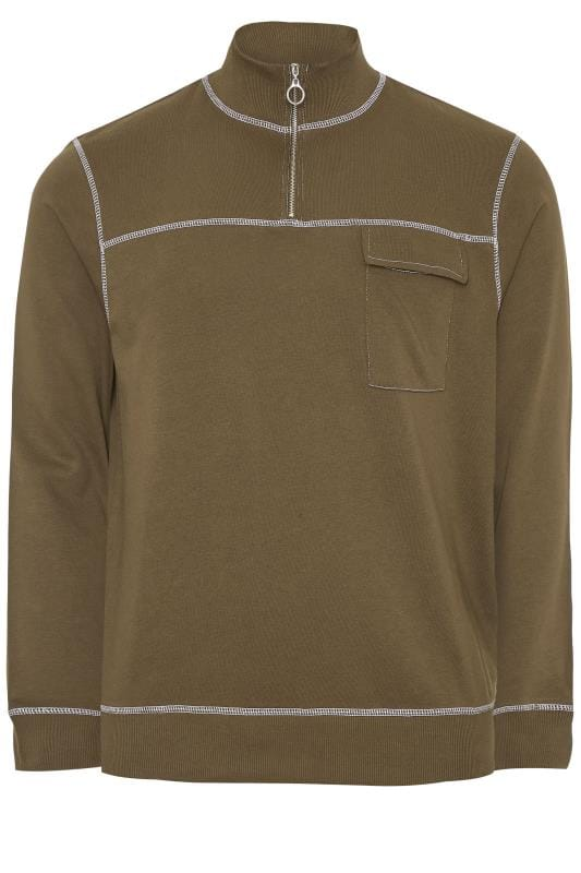 Plus Size Sweatshirts ANOTHER INFLUENCE Khaki Half Zip Utility Sweatshirt