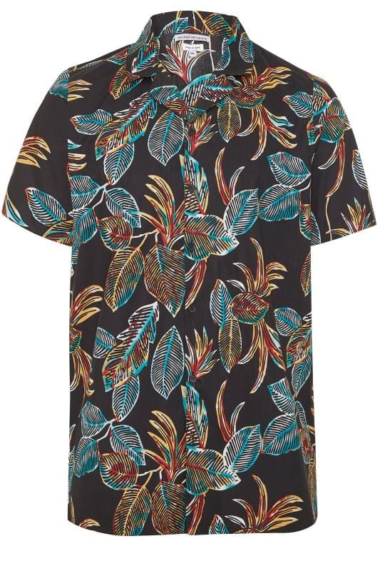 Plus Size Casual Shirts ANOTHER INFLUENCE Black Leaf Print Shirt