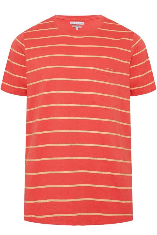 T-Shirts dla puszystych ANOTHER INFLUENCE Orange Striped T-Shirt